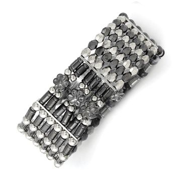 Silver-tone and Black-plated Acrylic Beads Stretch Bracelet