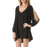 DJT Women Sexy Off Shoulder V-neck A-line Mini Strapless Loose Casual Dress Black S