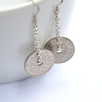 Coin earrings - Sterling silver earrings - Handmade and upcycled jewelry - Money jewelry - Dangle earrings - Long earrings