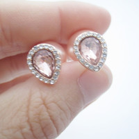 Pink Rhinestone Double Pearl Earrings