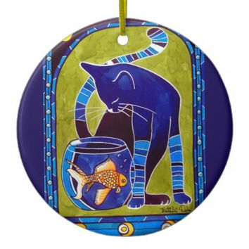 Blue Cat With Goldfish Whimsical Cat Art Ceramic Ornament