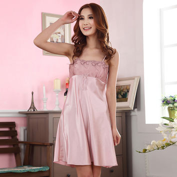 Sexy Women Faux Silk Sleepwear Braces Dress Nightdress Nightgown New
