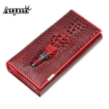 AEQUEEN Purse Women Wallets 3D Crocodile Grain Leather Embossed Alligator Long Wallet Lady Coin Purse Female Clutch Purses