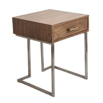 Roman Contemporary End Table in Walnut Wood and Stainless Steel by LumiSource