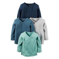 carter's® 4-Pack Long Sleeve Kimono T-Shirts in Aqua/Teal/Grey/Navy