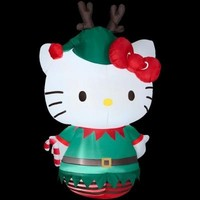 SheilaShrubs.com: Hello Kitty Dressed as an Elf 86587 by Gemmy Industries: Christmas Outdoor Decor