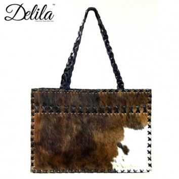 Large and Roomy Delila Hair On Hide Tote by Montana West LEAMEX-104 Blk