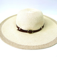 Brimmed Sun Hat Preppy Floppy Modern Summer Spring Chic Hat with Brown Buckle Band Panama Women's Small Medium