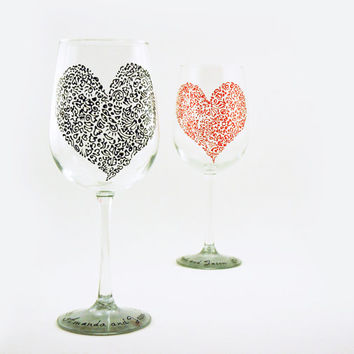 Wedding, Anniversary, Valentine personalized tall wine glasses - Set of 2 - Sweetheart glasses