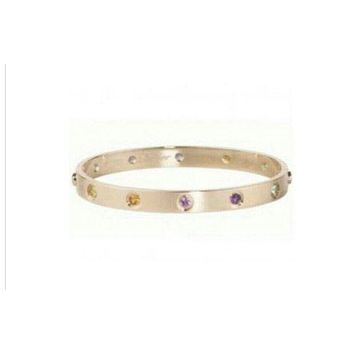PEAP Cartier 18k Rose Gold Love Bracelet with Multi Color Gem Stones Size 16 SS125269