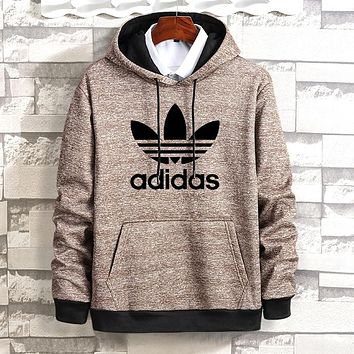 Adidas Winter Popular Women Men Casual Print Hooded Long Sleeve Velvet Sweater Top Sweatshirt Khaki