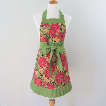 Womens Christmas Apron, Poinsettia, Holiday, Floral, Flowered, Red and Green, Flirty, Hostess Apron, Christmas Gift for Mom, Wife, Friend