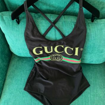 Black One Piece GUCCI Bikini Set Bathing Suits Swimsuit Swimwear