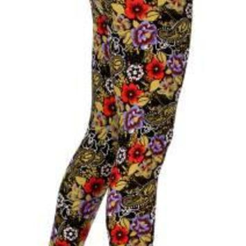 Flowers And Paisley Printed Leggings One Size