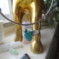 Dainty Silver Thunderbird, Arrow, and Turquoise Stone Bangle *Alex and Ani Inspired*