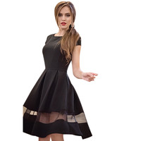Women Dress Kneelength Casual Oneck Aline Short Sleeve Chiffon Dress Vestido de festa Plus size XXL CF