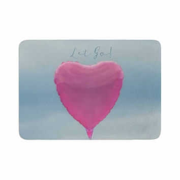 "Robin Dickinson ""Let Go!"" Blue Pink Memory Foam Bath Mat"