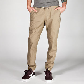 Valor Mens Twill Jogger Pants Khaki  In Sizes