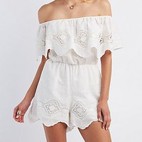 SCALLOPED OFF-THE-SHOULDER ROMPER