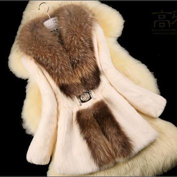 Women Trench ' Nature Rabbit Fur Coat jacket