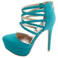 Pointed Toe Strappy D'Orsay High Heels by Charlotte Russe - Teal