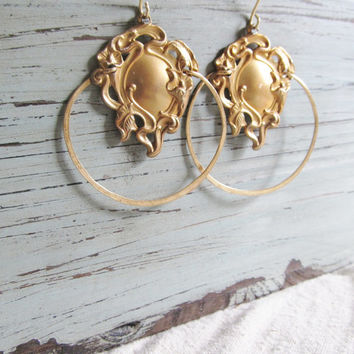 Large Hoop Earrings Art Nouveau Earrings Gold Hoop Earrings DanielleRoseBean Big Hoops