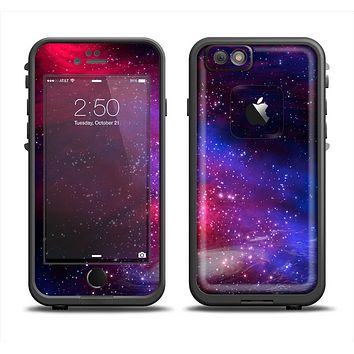 The Vivid Pink Galaxy Lights Apple iPhone 6 LifeProof Fre Case Skin Set