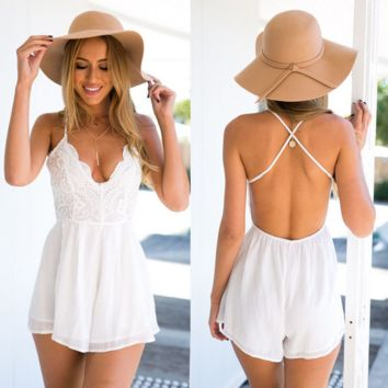 Fashion Strap Sleeveless Deep V Backless Lace Stitching Romper Jumpsuit Shorts