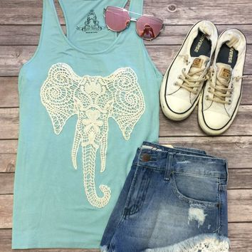 Crochet Elephant Tank: Mint