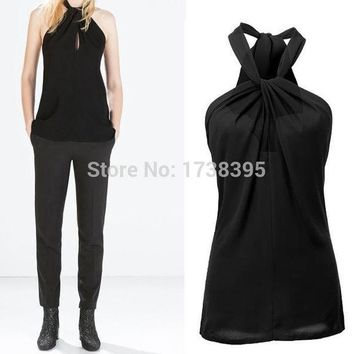 Hot Sale Sexy Women's Lady Halter Neck Bow Vest Shirts Girls Backless Solid Tops Casual Women Blouses Blusas Femininas