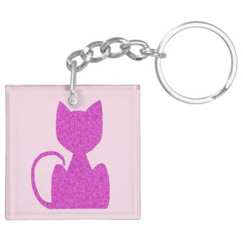 Pink Puzzled Cat Key Rings Keychain