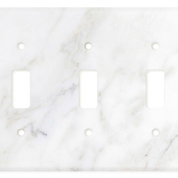 Italian Calacatta Gold Marble Triple Toggle Switch Wall Plate / Switch Plate / Cover - Honed