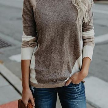 Khaki Color Block Print Slouchy Oversize Long Sleeve Sweater Pullover