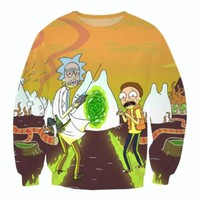 Rick and Morty HD pattern print casual hoodie