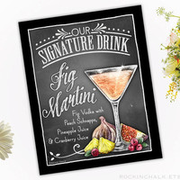 Wedding Decoration | Signature Drink Sign | As-Is or Personalized Wedding Keepsake | Fig Martini Drink Sign