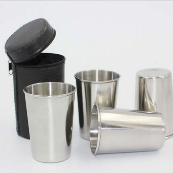 4pcs/Set 70ML Stainless Steel Pocket Shot Glass Mini Alcohol Cup For Drink Best Men's Outdoor Gift