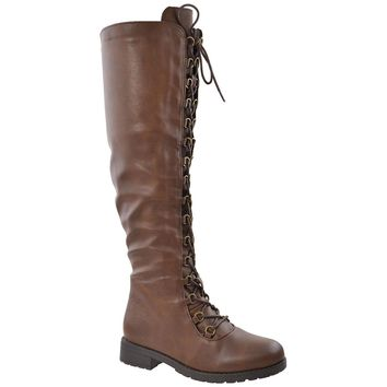 womens knee high boots faux leather lace up combat shoes brown  number 1