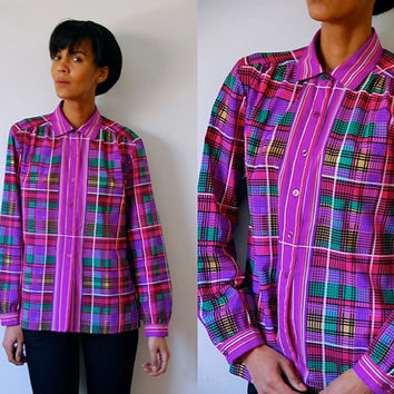Vtg Neon Plaid Pink Purple Green Black Button Down LS Shirt