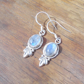 Moon stone Gemstone Earrings, Sterling Silver Moonstone Earring,Silver Rainbow Earring, Rainbow Moonstone, Jewelry, Moonstone Silver Earring