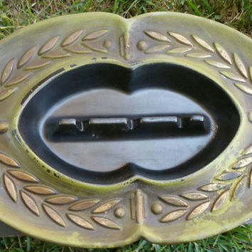 Vintage bronze black green Haeger Ashtray