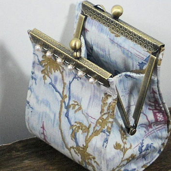 Unique Coin Purse, Asian Waterfall Landscape, Blue Gray & Gold Asian Landscape Change Purse, Gift by MeiMeiSupplies, Ready to Ship from USA
