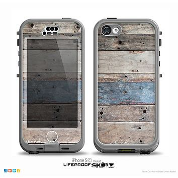 The Multicolored Tinted Wooden Planks Skin for the iPhone 5c nüüd LifeProof Case