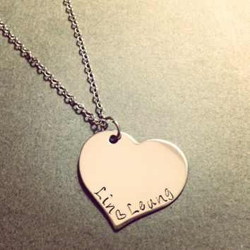 Personalized Heart Necklace Single or Double Name Perfect Christmas gift or Stocking Stuffer
