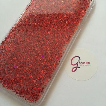 Noel Christmas Red Glitter holographic star glitter iPhone 6+, 6, 5s, 5c, 5, 4s, 4 phone case Samsung S6, S6 edge, S5, S4, S3 iphone case