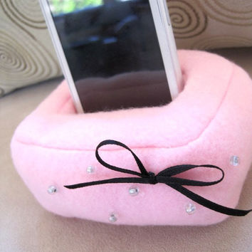 Plush Cell Phone, iPhone Holder Pouch Stand - Pink with Bow