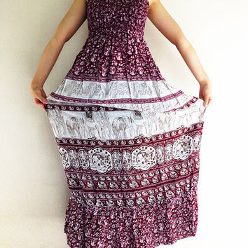Rayon Maxi Dress Hobo Hippie Boho Bohemain Hippie Gypsy Style Elephant Red (DL28)