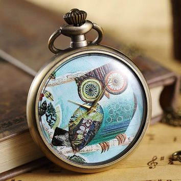 Vintage Colorful Painted Owl Pocket Watch Women Men Necklace Pendant Ladies Gifts Unique Steampunk Quartz Pocket Watch FOB Chain