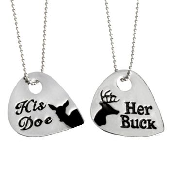 Her Buck and His Doe Pick Necklace