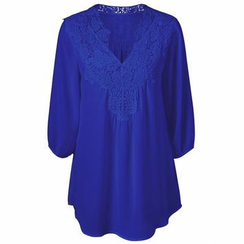 2017 New Women Tops Plus Size Lace Chiffon Blosue Half Sleeveless Floral Crochet Trim Tunic Top Shirts V neck Casual blusas