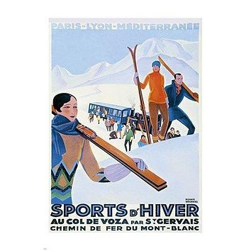 vintage travel poster FRENCH WINTER SPORTS skiing snow COLLECTORS 24X36 HIP